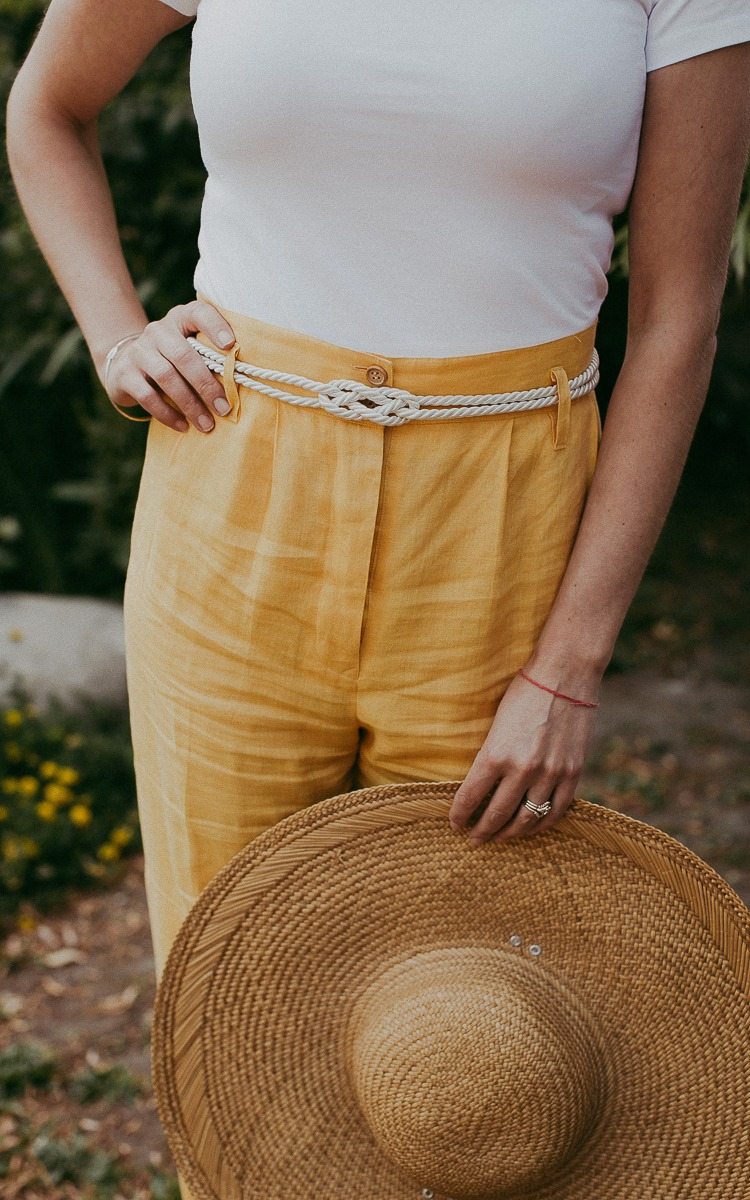 DIY rope belt with thrifted linen pants
