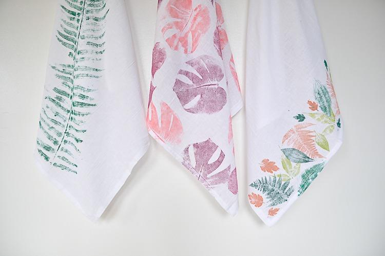 Easy diy tea towel using foraged leaves