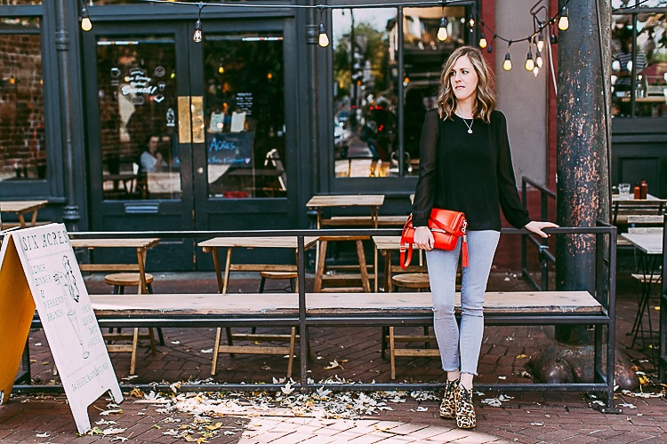 Fall Fashion, leopard print booties and a red leather purse