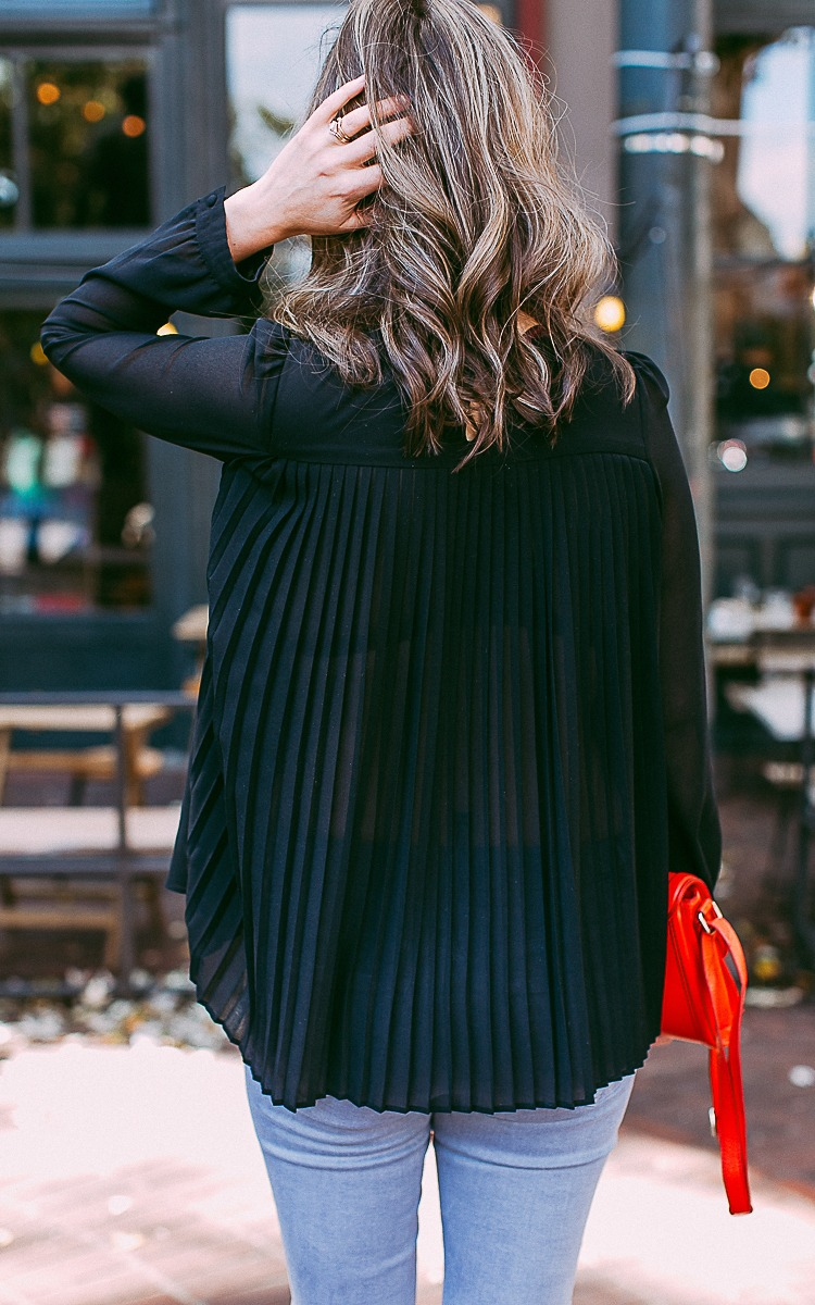Fall Fashion Black Pleated Shirt with Red Leather Purse