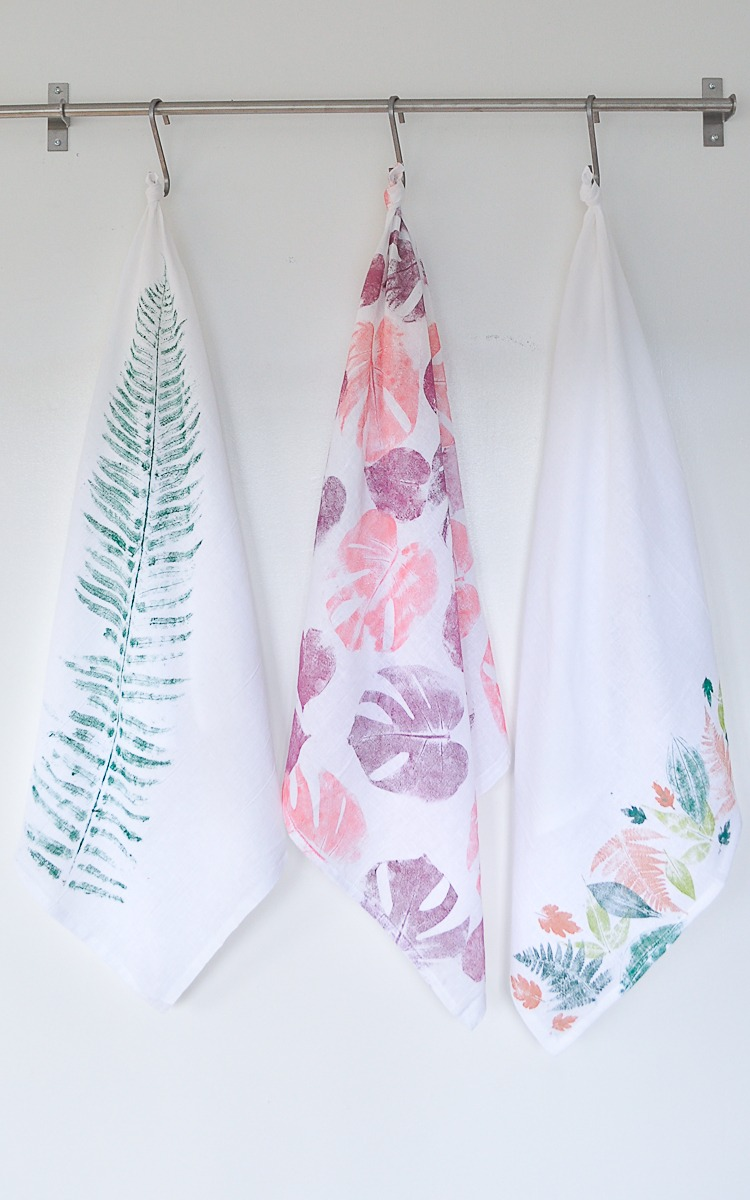 DIY Leaf Printed Tea Towel.