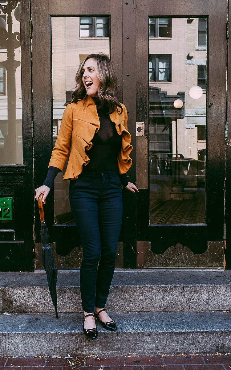 Fall Fashion Friday with Navy and Yellow.