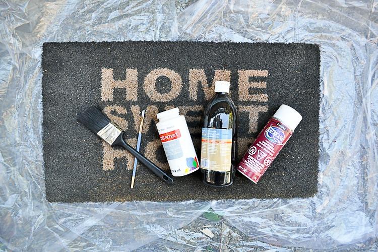 Front door faded mat DIY makeover