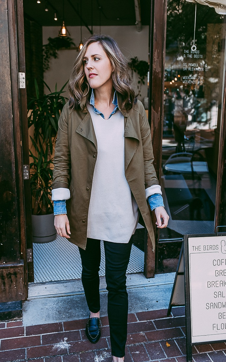 Fall layers with an oversized sweater, green jacket and jean shirt.