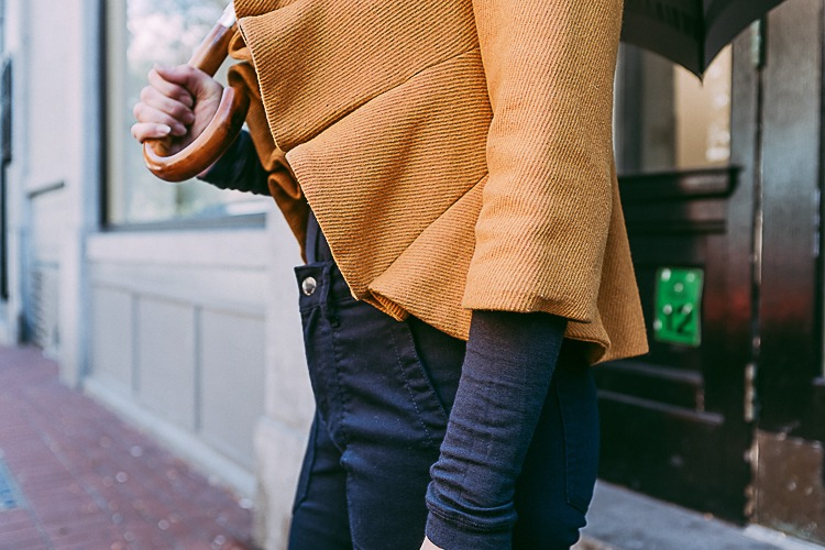 Fall layers with navy and yellow accents
