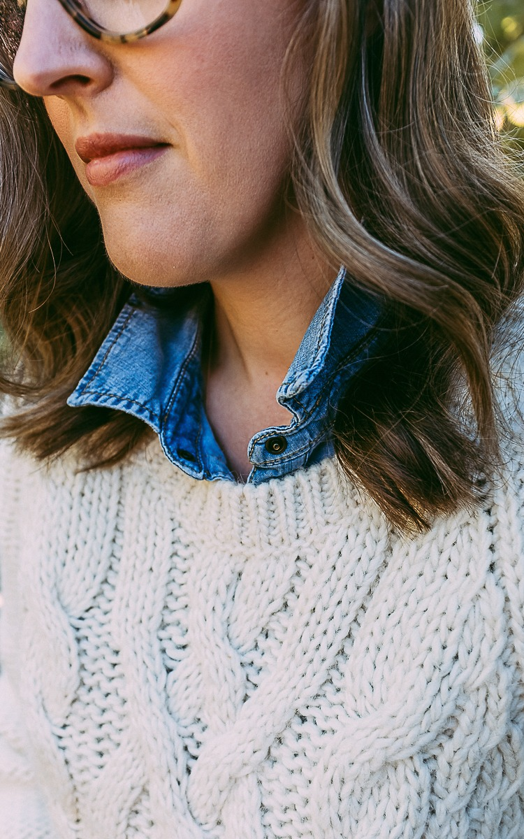 Fall layers with a jean shirt and wool shirt