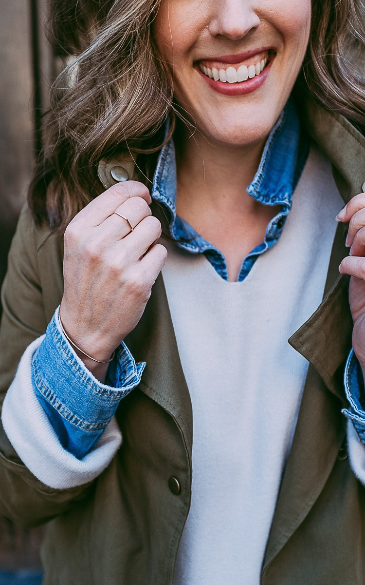 Fall layers with oversized sweater, green jacket, and fanny pack