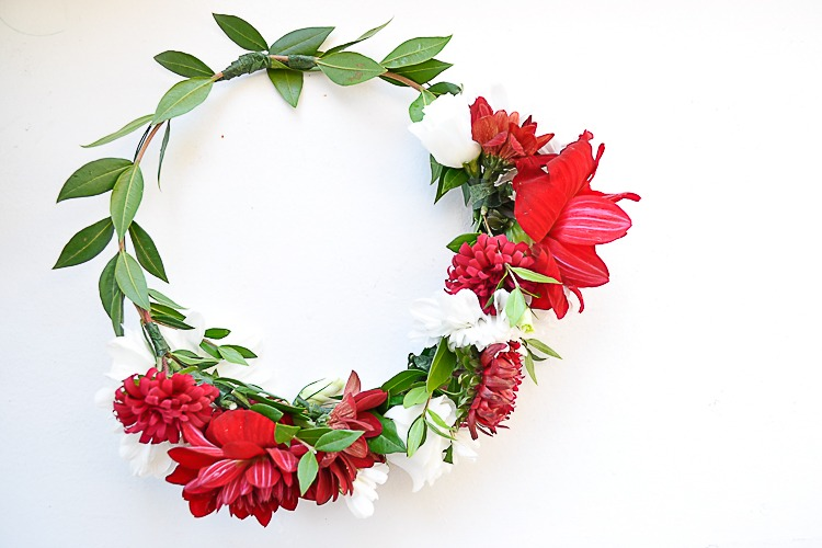 Red and White DIY Floral Crown