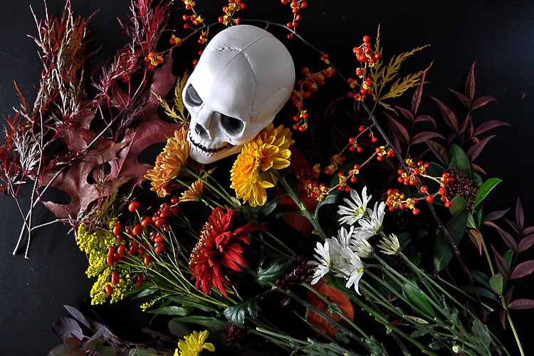Floral skull DIY for Halloween table setting.