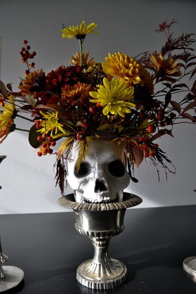 DIY floral skull for a Halloween table setting.