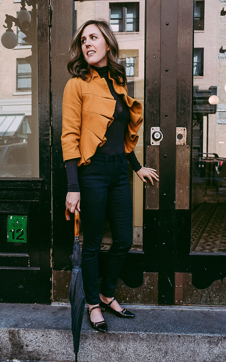 Fall fashion with navy and yellow on a budget.