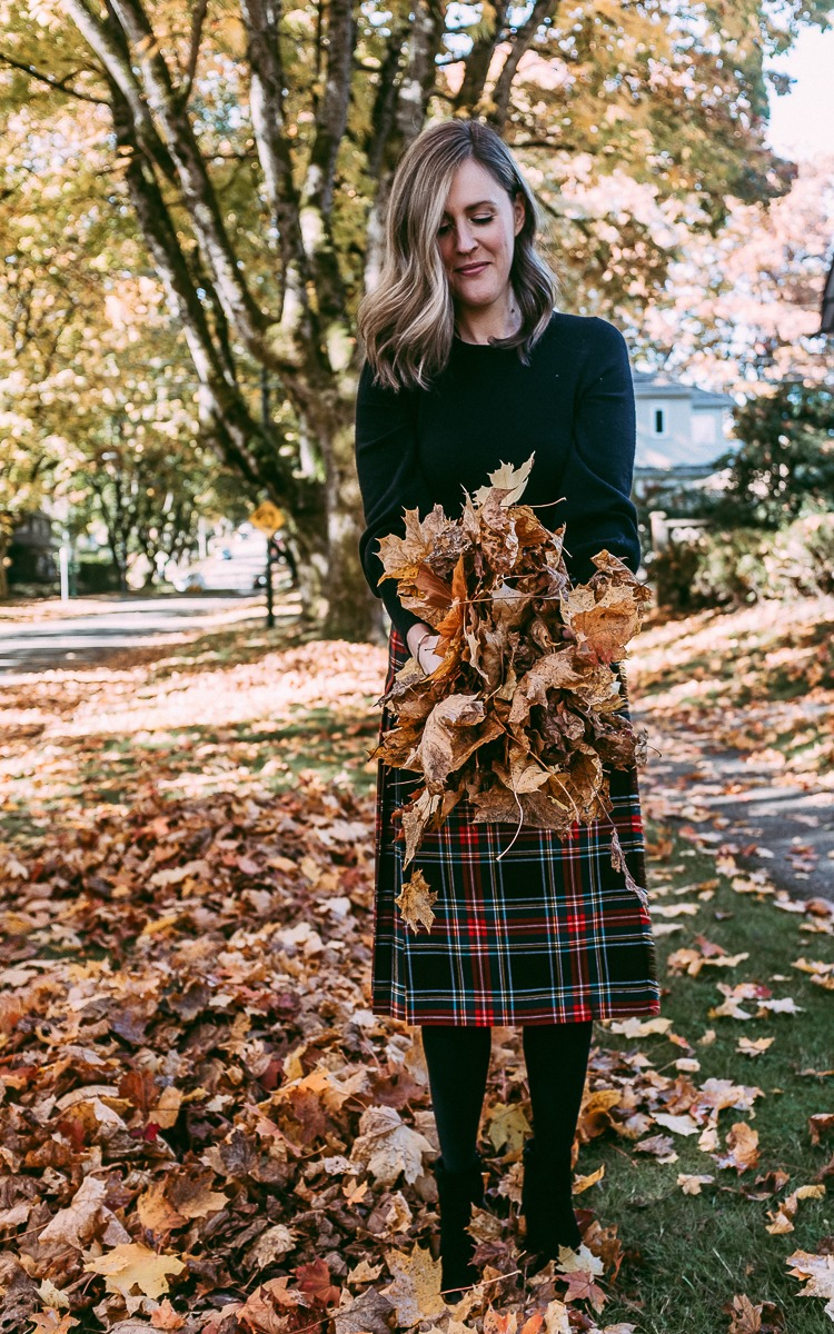 Leaves, fall and plaid