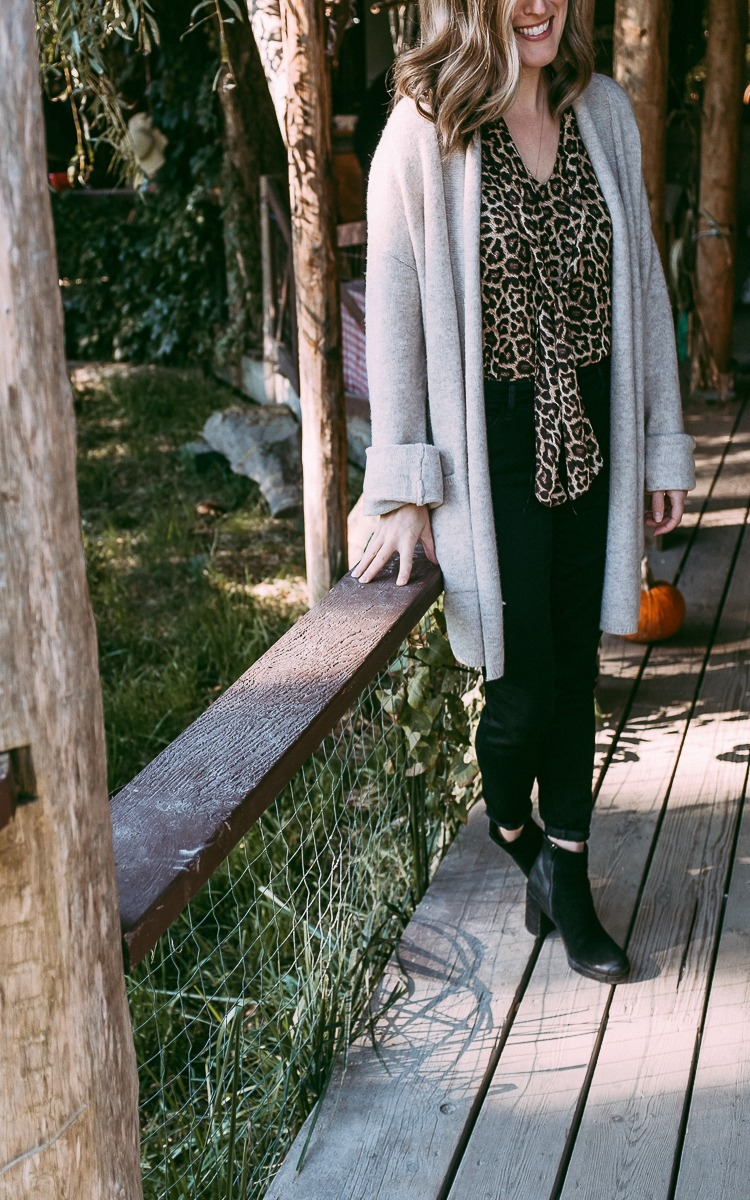 Leopard print shirt with an oversized sweater