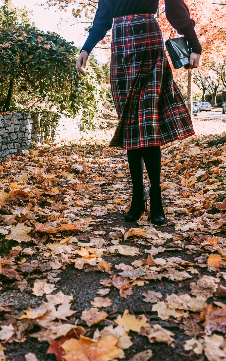 Plaid, leaves and black for fall