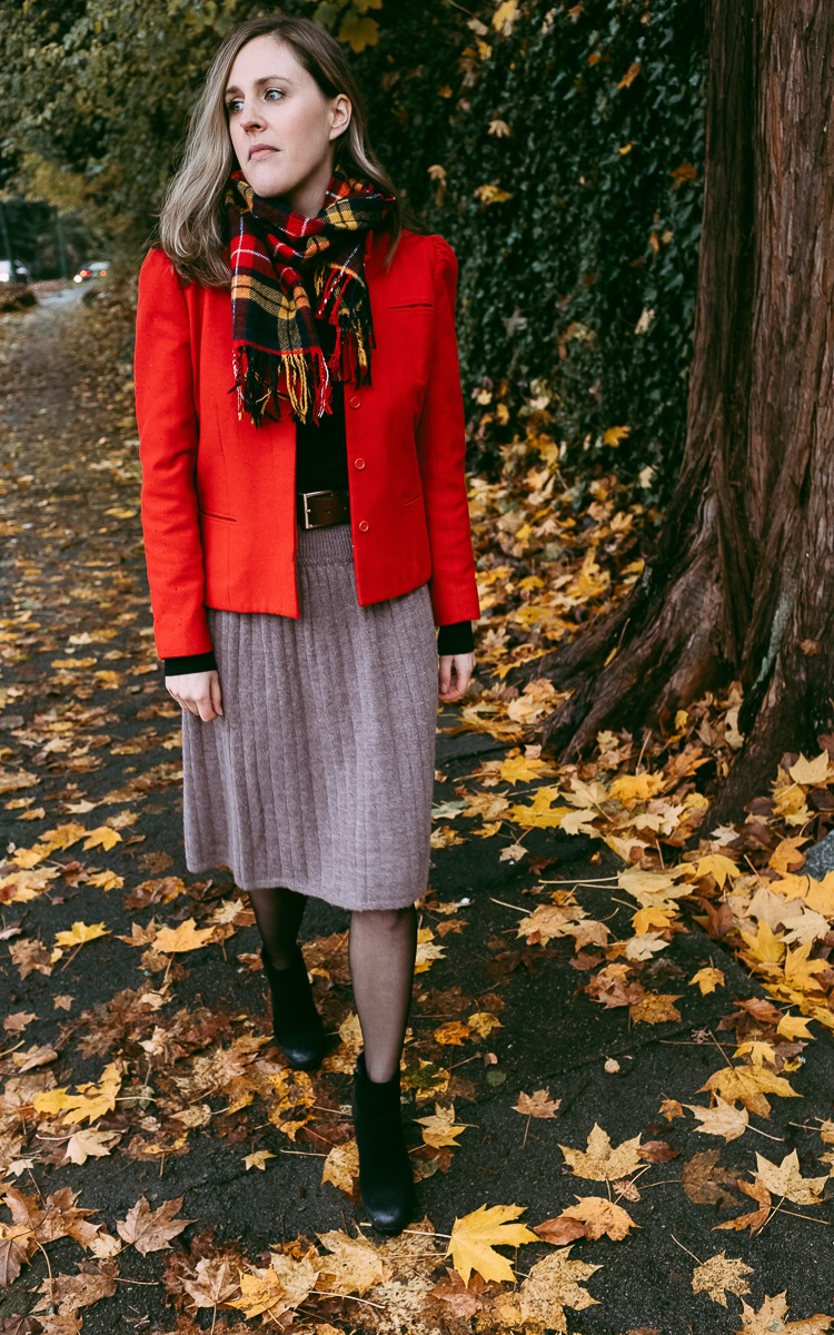 Vintage red wool jacket for fall.