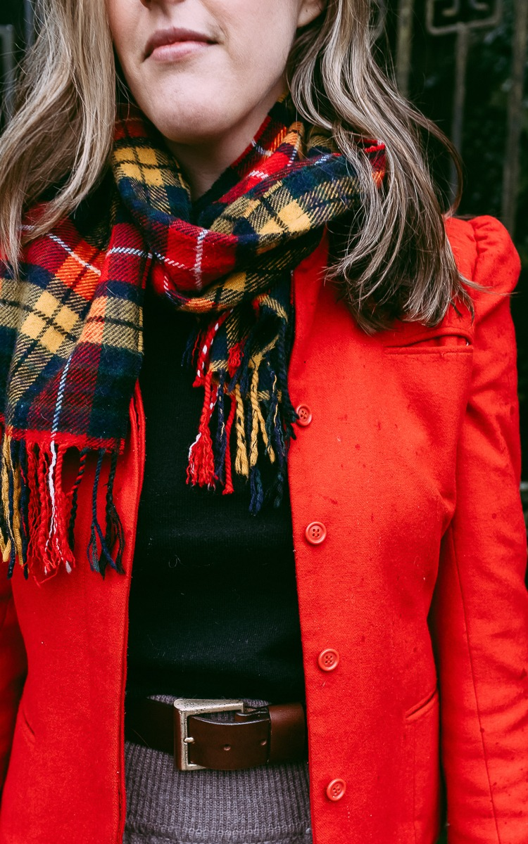 Vintage red wool jacket for fall