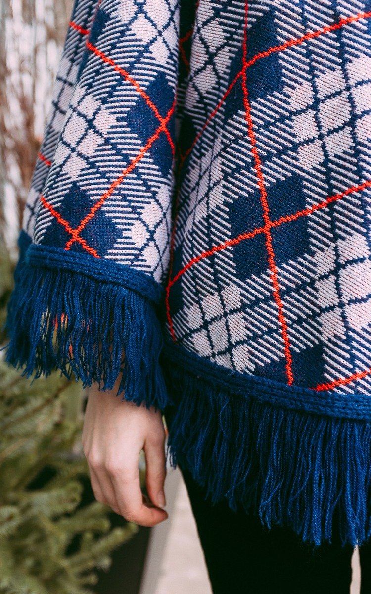 Vintage blue and red plaid poncho