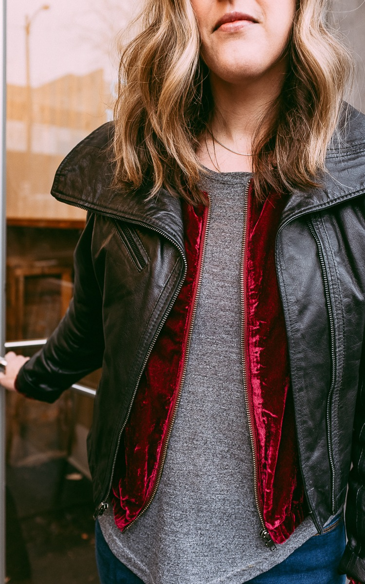 Velvet and leather jackets layered for fall.