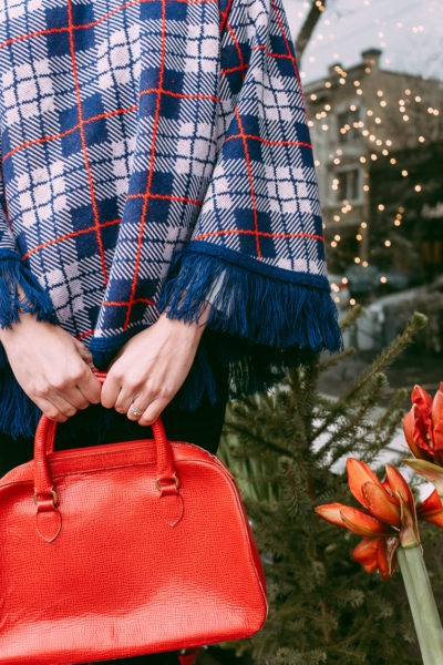 Vintage blue and red plaid poncho.