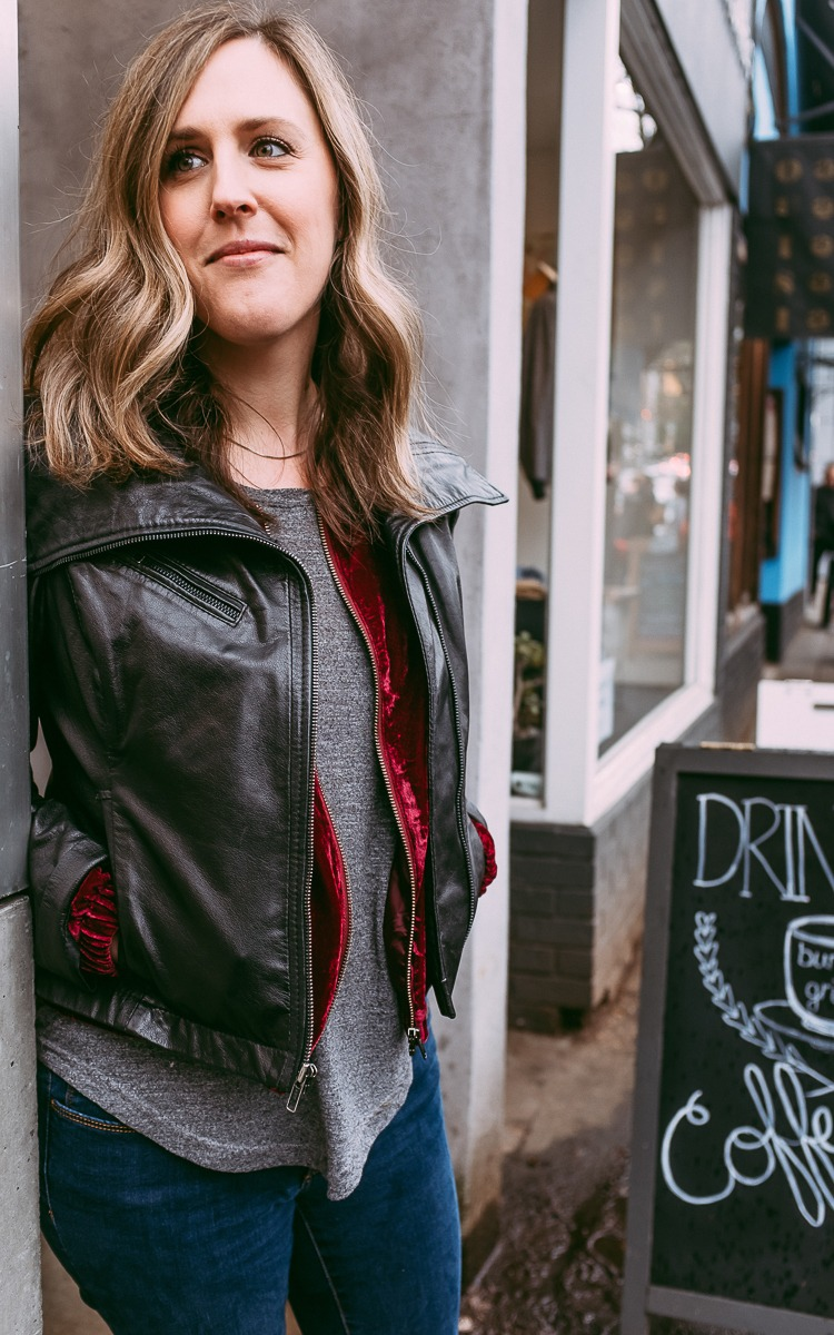 Velvet and leather jacket for fall