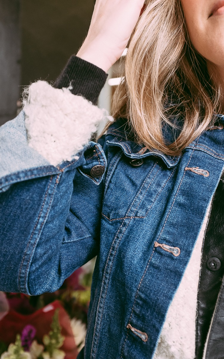 Layered jean jacket for winter