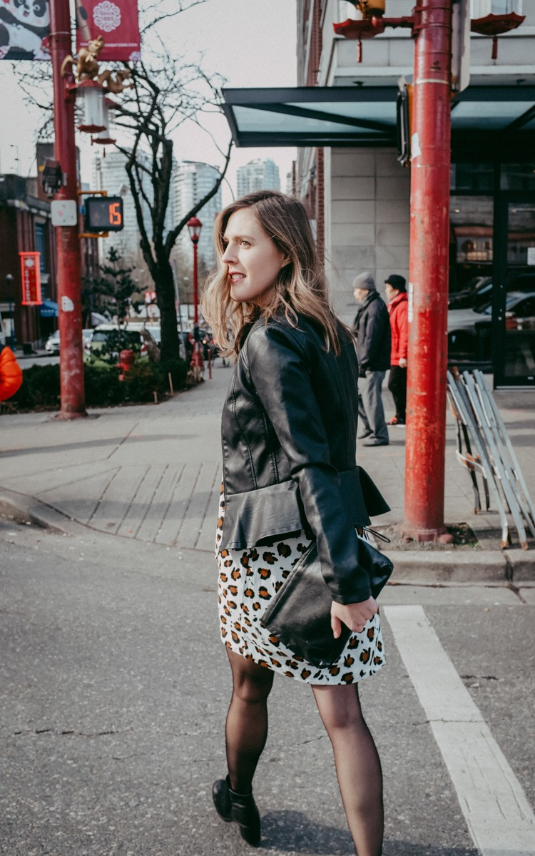 Leopard Print Dress and Leather Jacket