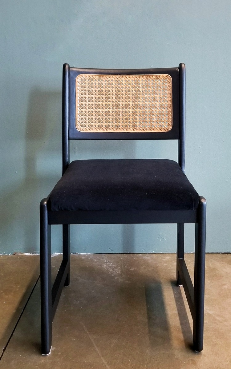DIY dining chair black with cane back