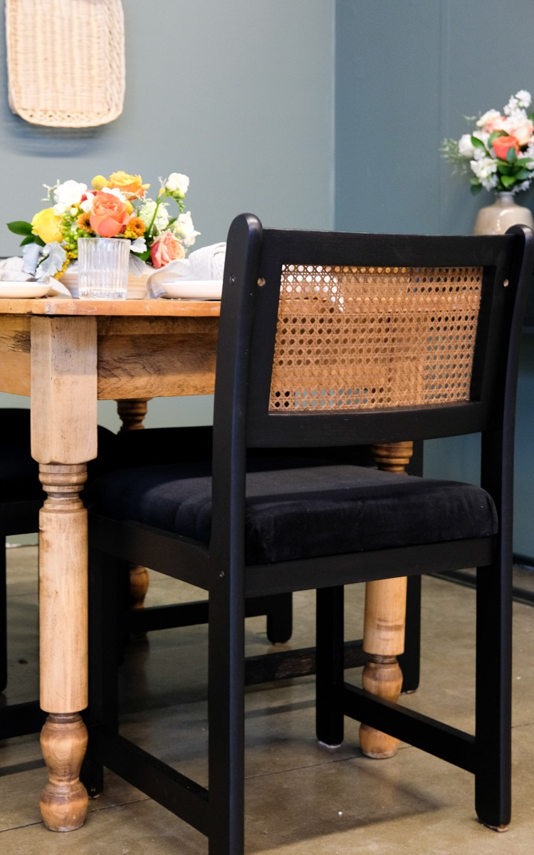 DIY dining chairs upcycled black and cane back chairs