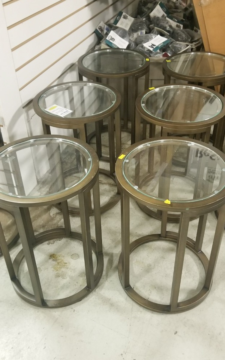 Diy upcycled side tables using Rust-Oleum paint.