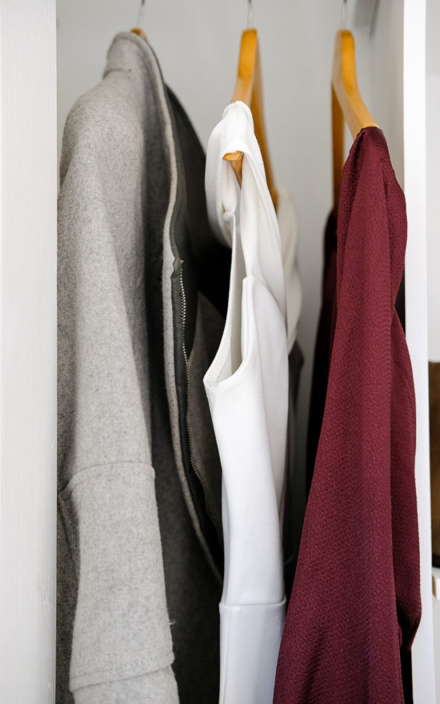 Color palette of white, burgundy, grey for a weekend getaway
