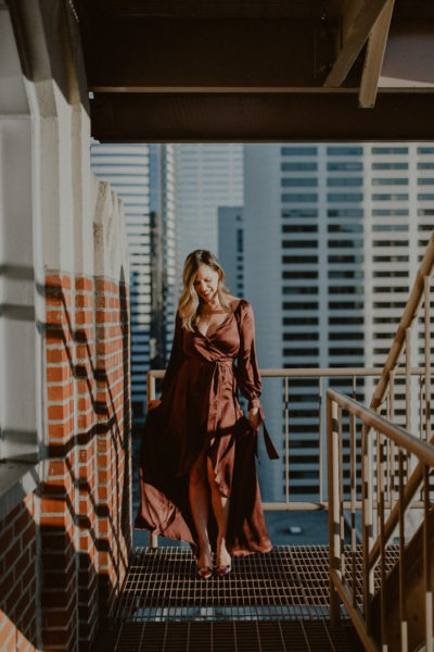 Tobi burgundy wrap dress on a budget