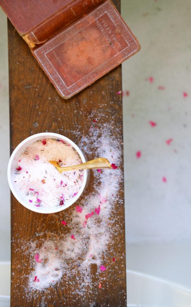 DIY lavender and rose bath salts
