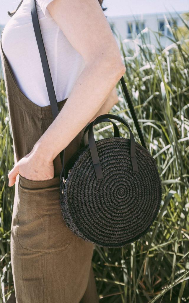 black straw bag for summer