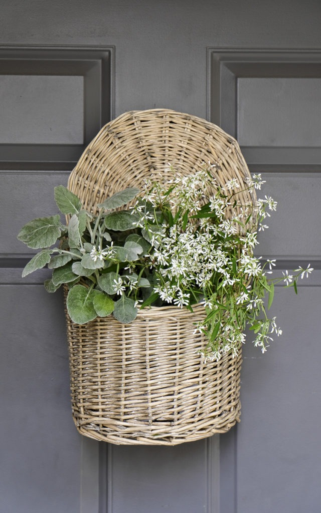 front stoop decor, door basket