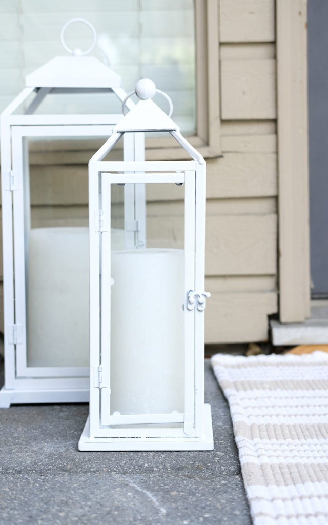 front stoop decor, rust-oleum spray painted lanterns