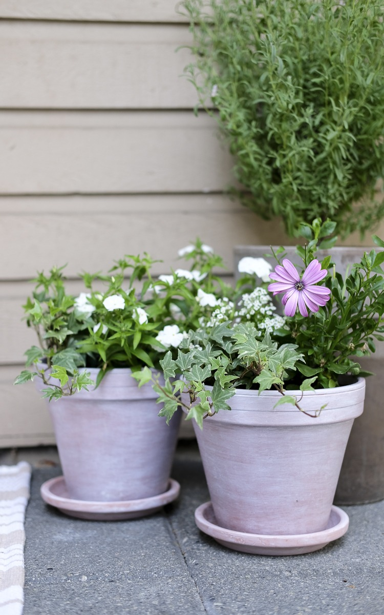 front stoop decor, diy white washed pots