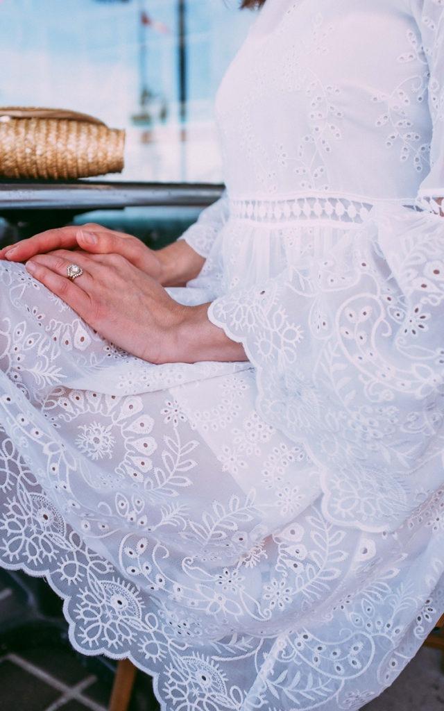 white dress details