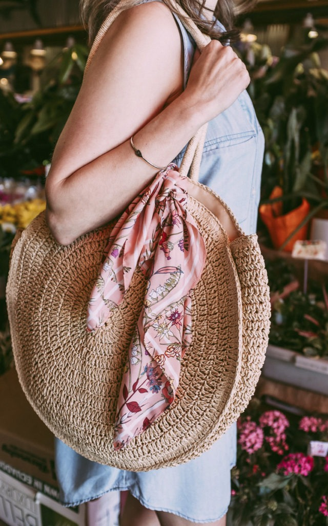 scarf on a straw bag for summer