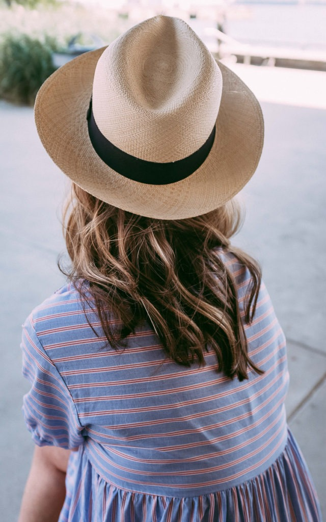 Straw hat and blue dress