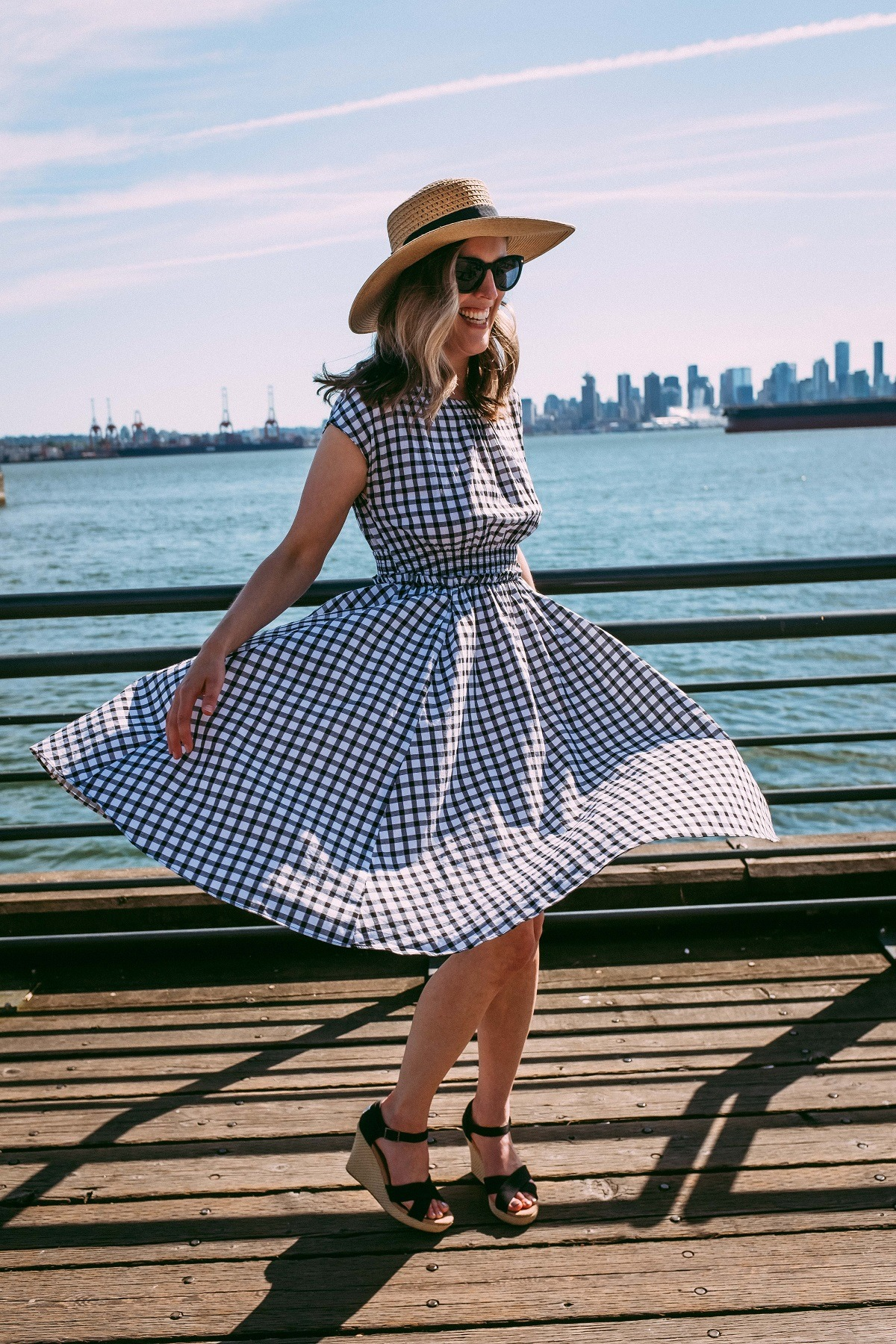 gingham dress, thrift store finds