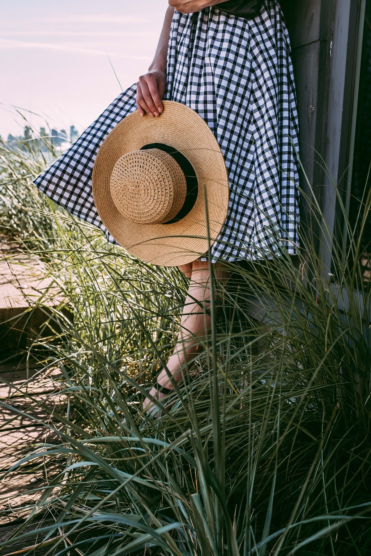 straw hat and gingham dress