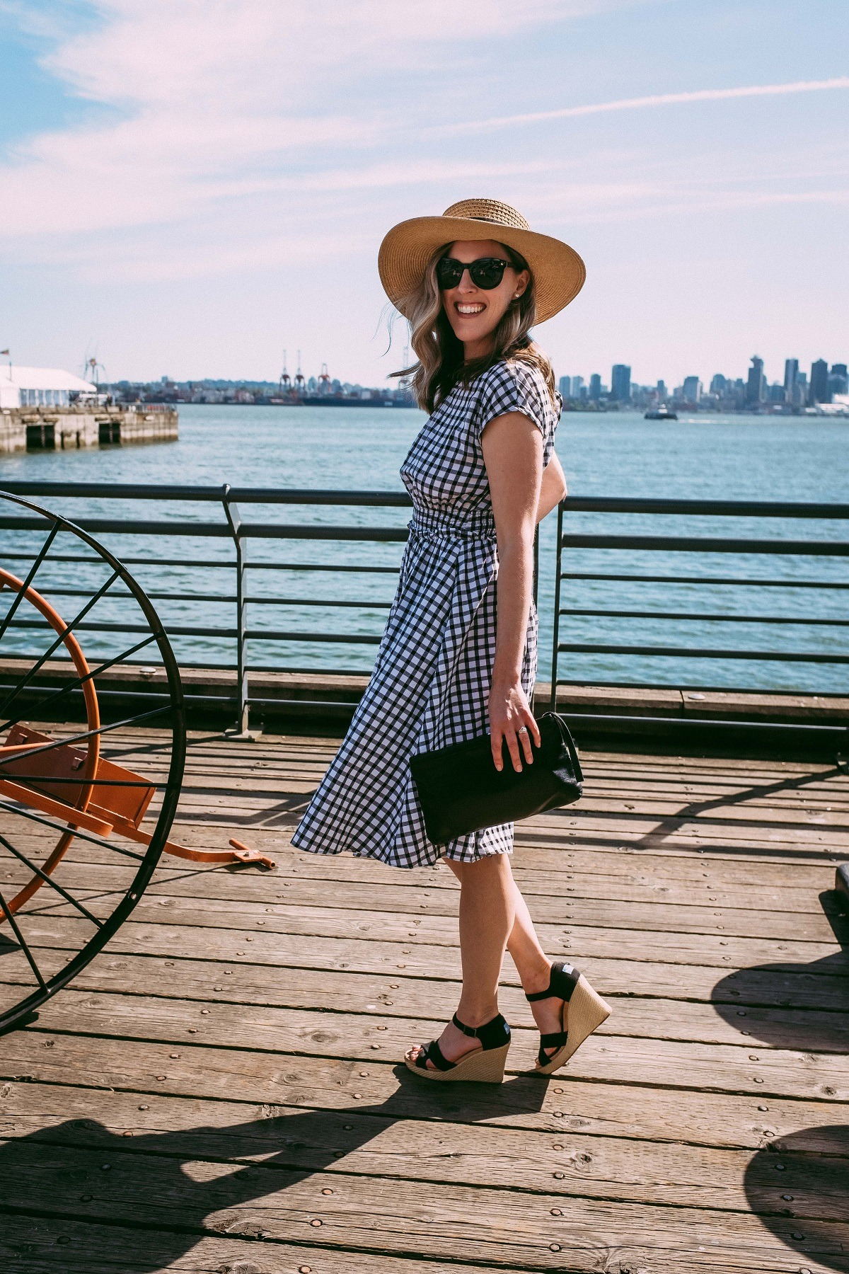 gingham dress, straw hat, espadrilles for summer