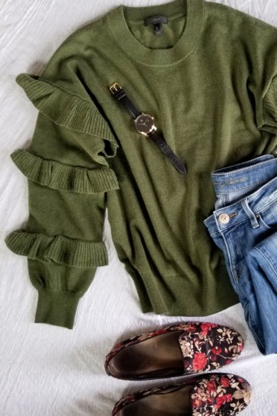 Thrifted J Crew sweater with MVMT watch