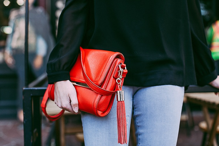 Red Leather Purse with Tassel for Fall 2018