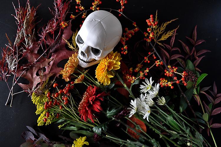 Floral skull DIY for Halloween table setting.
