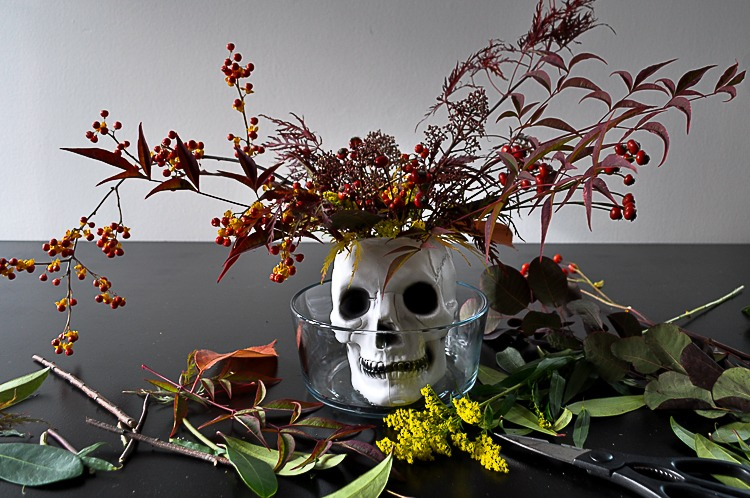 DIY floral skull for Halloween table setting