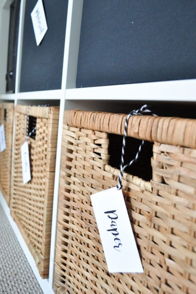 Home office organization with easy DIY tags.