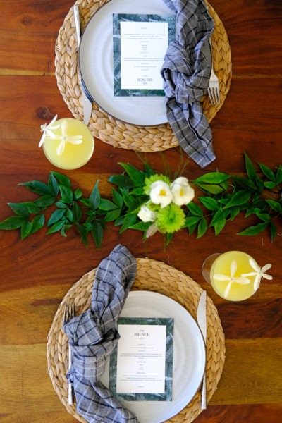 DIY brunch menu and table setting